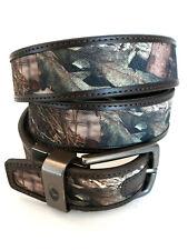 MOSSY OAK  Men's Reversible Camo Brown Leather Belt Large 38-40 Hunting EUC