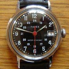 1975 Timex 24hr Military Style Black Calendar Wrist Watch - British Made & FWO