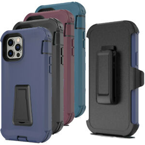 For iPhone 12 Pro Max 11 XR 6 8 7 Plus SE Kickstand Case, Rugged Belt Clip Cover