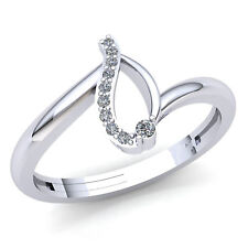 Bridal Right Hand Ring 18K Gold Genuine 0.15ctw Round Diamond Womens Accent
