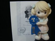 cd Precious Moments-Girl Holding 1'st Place Blue Ribbon For Mom-#1 Mom-Cute