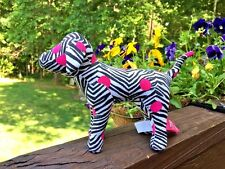 PINK by VICTORIA'S SECRET Plush Dog Zebra Stripe & Hot Pink POLKA DOTS 6h x 8w