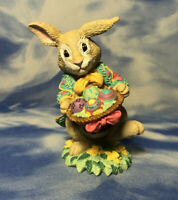 """4"""" Resin Bunny Rabbit Figurine w/ Basket of Colorful Easter Eggs RGUC"""