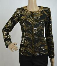 New MSK Women Black  Sequined Long Sleeves Chain Necklace Blouse Jacket Sz S