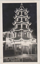 RPPC,Los Angeles,CA.New China Town,Golden Pagoda at Night,Quillen,1945-50s