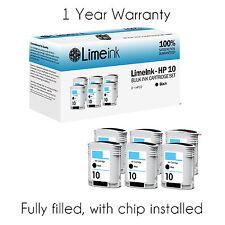 6 pk Black Ink Cartridges for HP #10 C4844A Business Inkjet 1200 Designjet 500