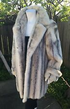 LUXURIOUS GENUINE WHITE CROSS MINK FUR WOMAN'S JACKET STROLLER COAT L XL