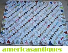 "VINTAGE SAWTOOTH IRISH CHAIN SMALL QUILT HAND PIECED HAND QUILTED 48"" by 36"""