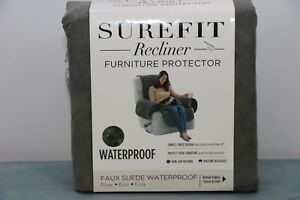 SureFit Recliner Chair Furniture Protector Cover Faux Suede Waterproof in Gray