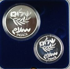1995 Israel New Sheqalim Peace Treaty 2 Coin Silver Proof & UNC Set w Box & COA