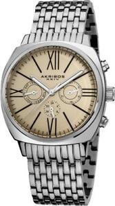 Akribos XXIV Swiss Quartz Day Date GMT Roman Numerals AK636SSW Mens Watch