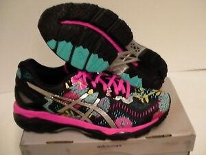 Women's Asics running shoes gel kayano 23 black silver pink glow size 6.5 us