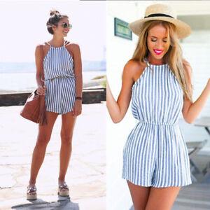 Fashion Women Jumpsuit Strap Backless Vertical Striped Mini Beach Short Romper