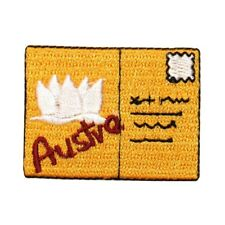 ID 9031 Austria Sydney Postcard Patch Letter Stamp Embroidered Iron On Applique