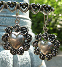 Hearts and Roses Solid Sterling Silver Earrings, Unique Valentine Earrings!