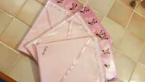 Handmade Pink Spotted Baby Crib Sheet- Minnie Mouse Satin & White Lace Edge.