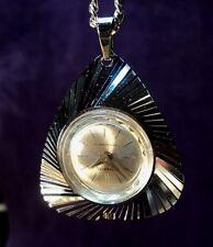 Serviced~SCHAFFEL Swiss Asymmetric Modernist Necklace Pendant Watch & Chain