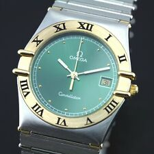 VINTAGE OMEGA CONSTELLATION QUARTZ DATE GREEN DIAL MEN'S WATCH
