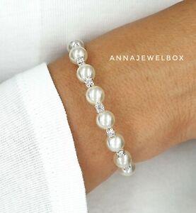 Silver White Cubic Zirconia Crystal Pearl Bracelet Diamante Cubic Zirconia Gift
