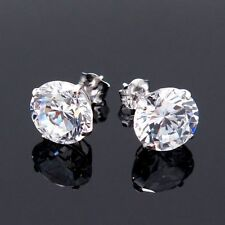 14K White Gold 4Ct Cubic Zirconia Pushback Stud Earrings 8mm