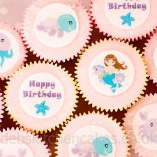 Sirena Cupcake Toppers-Princess Cake Toppers - 4 Cm X 24 Oblea