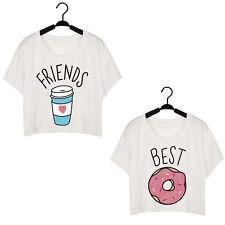 Best Friends Funny Duo Flowy Coffee Summer Hot Donut Women Print T-Shirt
