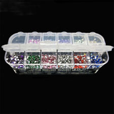 3000pcs 2mm Round Rhinstones 12 Colors Hard Case Nail Art Tips Acrylic Uv Gel'