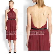 GUCCI DRESS CROSSOVER HALTER NECK WITH BAMBOO LEATHER BELT $2,100 XL EXTRA LARGE