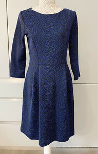 Hobbs Spotted Royal Blue Fit Flare A Line Dress Size 12 3/4 Sleeves Occasion