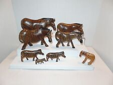 Lot of Handmade Authentic African Kenya Wood Handcarved Zebras (7 Sizes) & Hyena