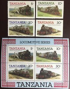 Tanzania 1986 Locomotives Set & Minisheet MNH