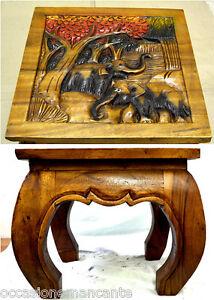 Tavolo opium legno massello con intarsi, incisioni  bassorilievo 40 x 40 x 35