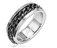 New Mens Black Chain Ring Spin 316L Stainless Steel Spinner Band (G36)