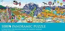 CHARLES FAZZINO PANORAMIC JIGSAW PUZZLE O' BEAUTIFUL FOR SPACIOUS SKIES 1000 PCS