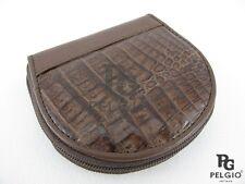PELGIO Genuine Crocodile Skin Leather Women Zip Around Wallet Coins Purse Brown