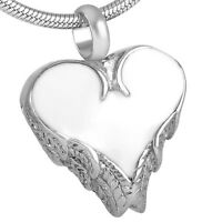 IJD9378 Heart Stainless Steel Cremation Pendant Necklace Rose Engraved Urn Stash