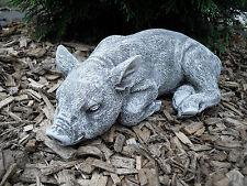 Steinfigur Schwein liegend  Frostfest Steinguss Garten Deko Tier