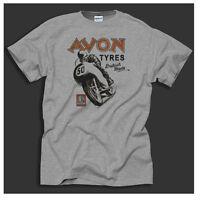 Avon Tyres Vintage Bike Poster British Motorcycles retro design Grey T-shirt
