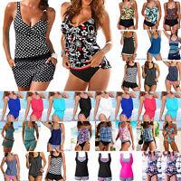 Women Push Up Padded Tankini Bikini Set Bathing Suit Swimsuit Beachwear Swimwear
