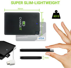 Mobile Phone Emergency Slim Power Bank Portable USB Charger Credit Card sized