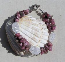 "Rhodonite & Crackled Clear Quartz Crystal Gemstone Bracelet ""Water Lily Dew"""