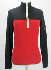 Lauren Ralph Lauren Womens Sweater Size XS Half Zip Colorblock Red Black Cream