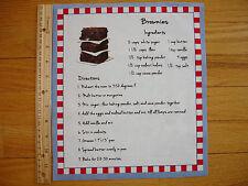 "Brownies Recipe Ingredients Cotton Quilt Fabric Block  11 1/4"" x 9 3/4"""