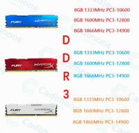 3 couleurs 8 Go DDR3 1333 1600 1866 MHz DIMM RAM de bureau pour Kingston HyperX