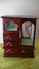 """Mahogany JEWELRY BOX """"TABLE TOP"""" Armoire Storage Case 2 Doors & 3 Drawers"""