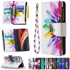 Case For iPhone 12 11 Pro Max XR X 8 7 Zipper Bag Card Wallet Flip Phone Cover