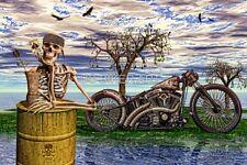 HARLEY DAVIDSON RAT BIKE SURREAL SKELETON ACE SPADES MOTORCYCLE BIKER ART PRINT
