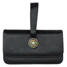 LOEWE Vintage Black Satin Turquoise & Aged Gold Brooch Clutch Bag