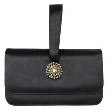 LOEWE Vintage Black Satin Turquoise & Aged Gold Brooch Clutch Bag