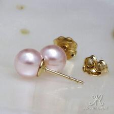 FEMININER KLASSIKER ● 6mm ●  SC Perlen Ohrstecker baby rosa ygf 14k Gold 585
